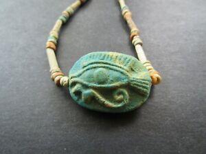 NILE  Ancient Egyptian Eye of Horus Amulet Mummy Bead Necklace ca 600 BC