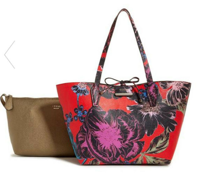 NWT GUESS Bobbi 3 in 1 Reversible Classic Tote Handbag Purse Red Gold Floral 5b11f377972d2