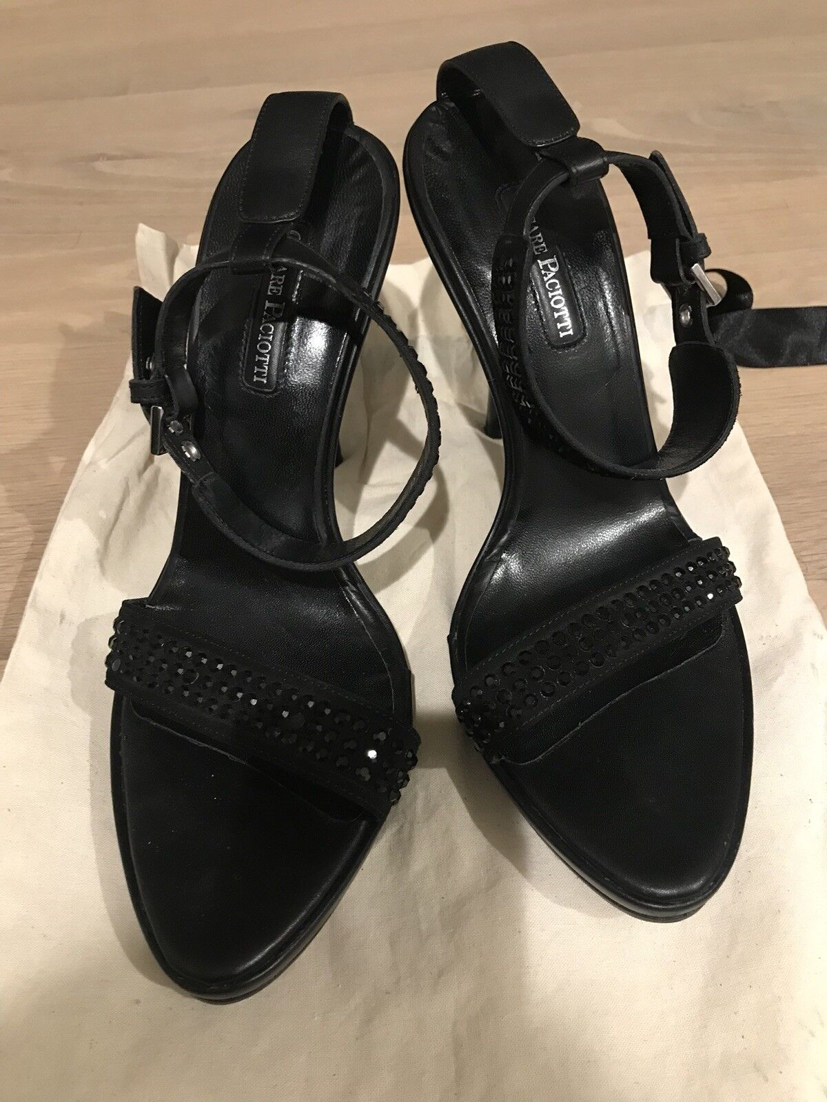 SEXY    Cesare Paciotti High HEEL BLACK Suede Embellished SANDALS EU38,5 US 8