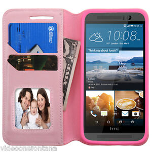 For-HTC-One-M9-PINK-Leather-Flip-Wallet-Credit-Card-Slots-Pouch-Case-Cover
