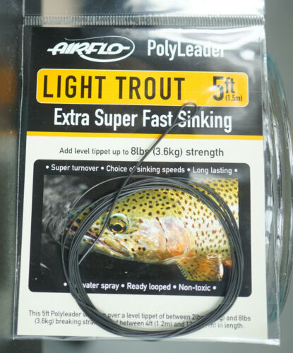 AIRFLO Polyleader LIGHT TROUT 5ft |1,50 Mtr. EXTRA SUPER FAST SINKING 6.1 in/sec