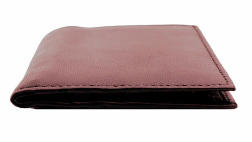 MENS RFID REAL LEATHER ULTRA SLIM CREDIT CARD HOLDER NOTE CASE WALLET BROWN 122