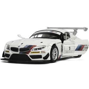 BMW-Z4-GT3-1-32-Alloy-Diecast-Model-Car-Toys-Sound-amp-Light-Pullback-Power-White