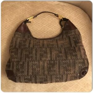 FENDI Zucca Canvas wool with Leather Trimmed and Gold Logo FF Hobo ... 86153b4509ca7