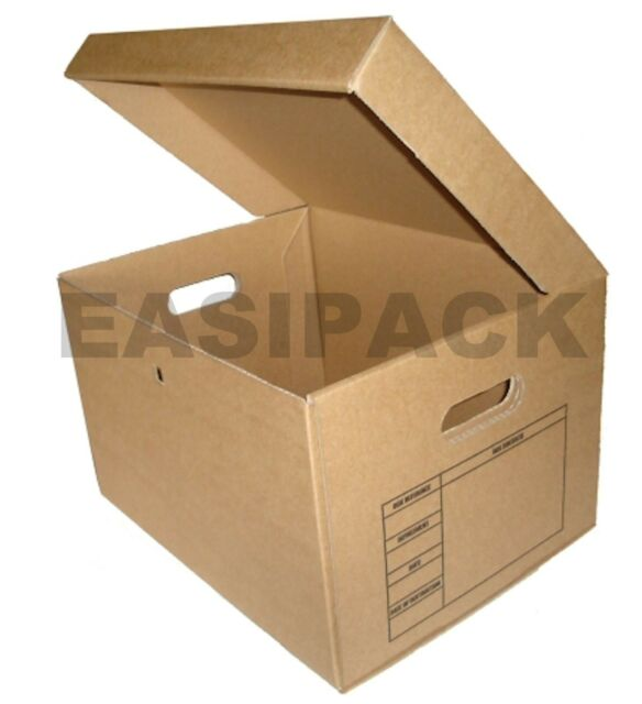10pcs ARCHIVE CARDBOARD FILING A4 STORAGE BOXES - ONE PIECE FOLD UP