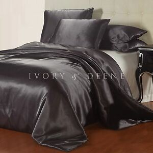 New Charcoal Grey Satin Quilt Cover King Size Silk Feel