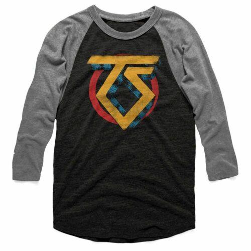 Twisted Sister Vintage TS Logo Vintage Black Heather Raglan T-Shirt