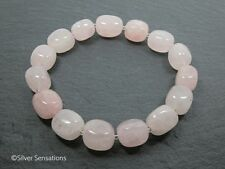Romantic Baby Pink Rose Quartz Nuggets Beaded Stretch Fashion Bracelet