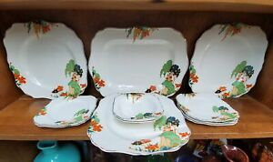 J-amp-G-Meakin-Fairy-Castles-Platter-Dinner-Plates-B-amp-B-Fruit-Bowl-Art-Deco-Rare-LOT