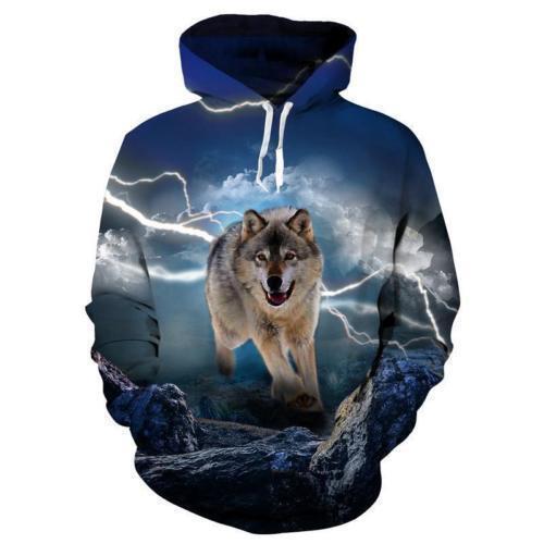 Galaxy Animal Wolf 3D Print Women Men Winter Hoodie Sweatshirt Pullover Coat Top