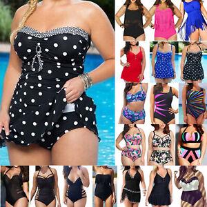 Plus-Size-Womens-Bikini-Set-Swimdress-Bathing-Suit-Swimwear-One-Piece-Swimsuit