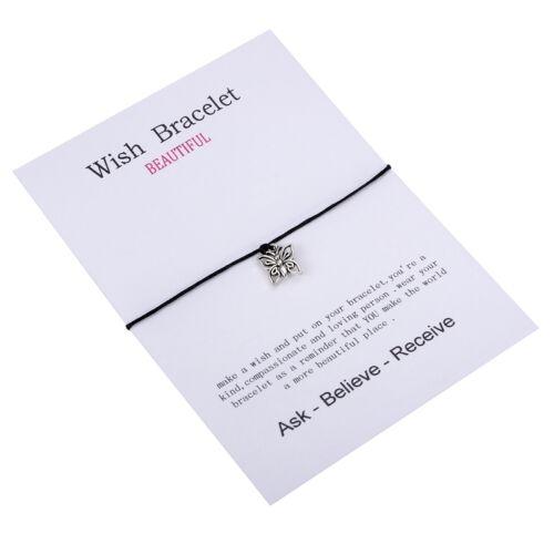GIFT 1PC Silver Unisex Women Men Hollow Butterfly String Card Bracelet Bangle