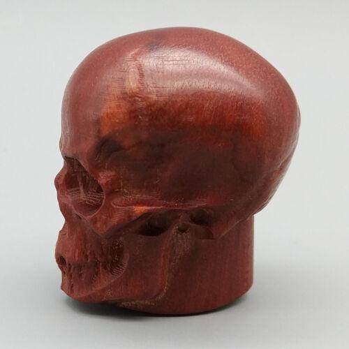 """1.4/"""" Hand Carved Red Sandalwood Carving Netsuke Skull Skeleton Head Halloween"""