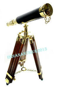 ANTIQUE BRASS BLACK LEATHER TELESCOPE WITH WOODEN STAND