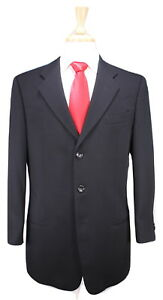 ARMANI-COLLEZIONI-Black-Textured-Wool-3-Btn-Luxury-ITALY-Suit-40R