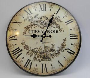 Wanduhr-CHEVAL-NOIR-franzoesischer-Landhausstil-Uhr-Metall-Antik-RETRO-Look