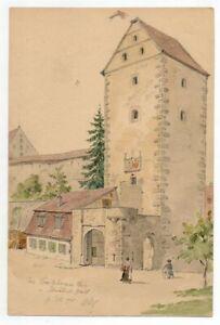 Zeichnung-Studie-Tusche-Bl-Stift-Aquarell-Schwaebisch-Hall-Crailsheimer-Tor-1904