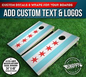 Cornhole Vinyl Decals Bag Toss Board Wraps CHICAGO FLAG Vinyl - Custom vinyl decals chicago