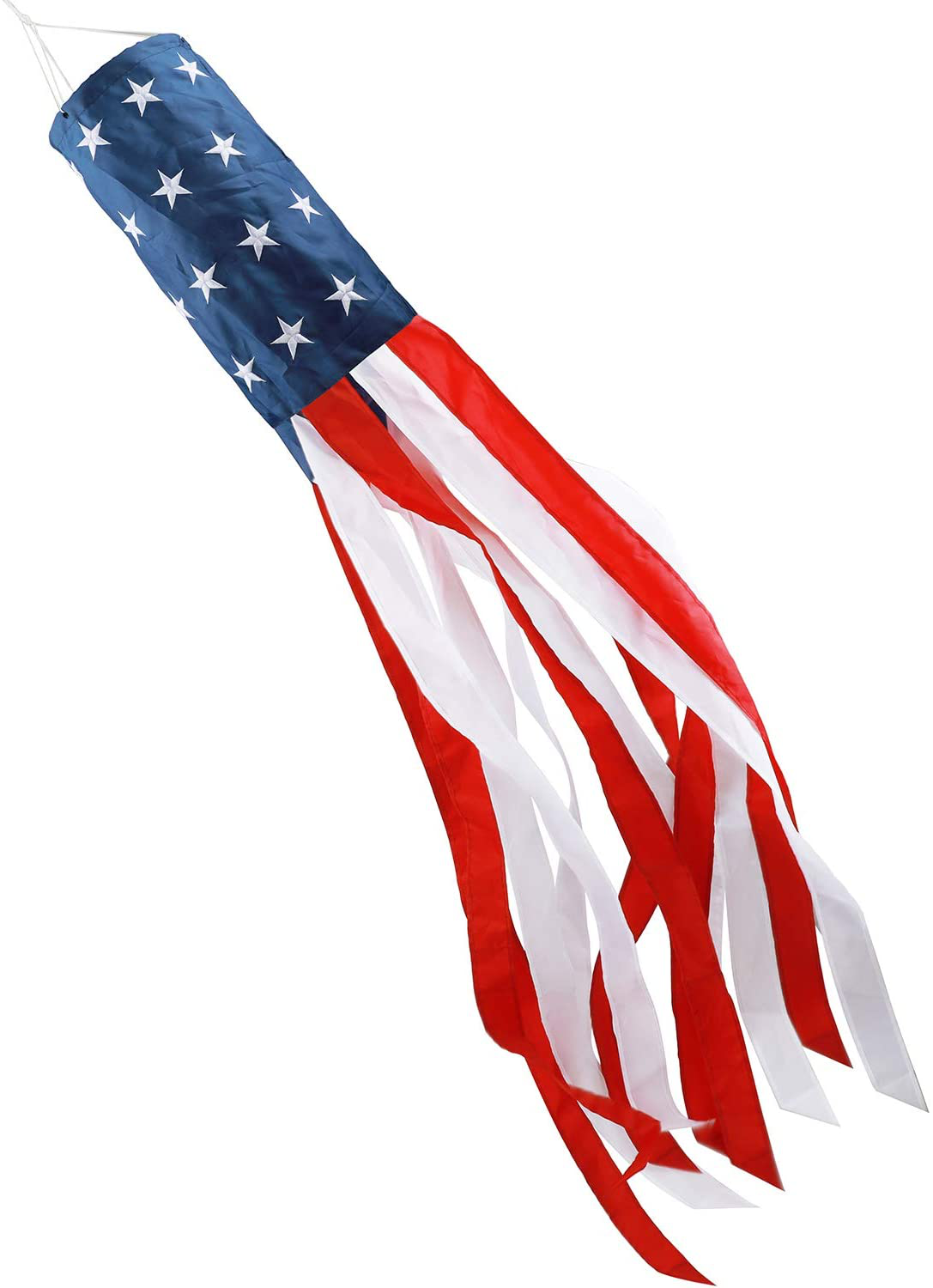 60 In American US Flag Windsock Outdoor Embroidered Stars Stripes USA Patriotic