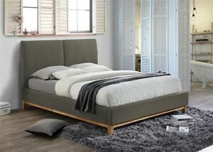 helsinki bed frame double 4ft6 135cm scandinavian retro grey