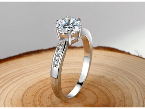 Genuine 925 Sterling Silver Cut 1.5 CT Zircon Solitaire Wedding Engagement Ring