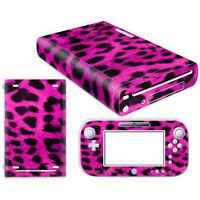 Nintendo Wii U Skin Design Foils Aufkleber Schutzfolie Set - Pink Leopard Motiv