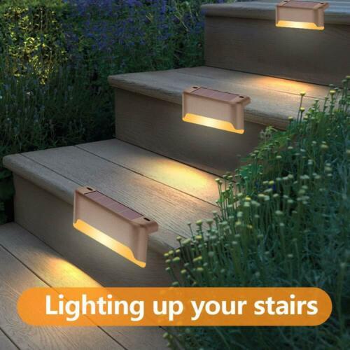 12Pcs Solar LED Deck Lights Outdoor Pathway Garden Yard Stairs Step Fence Lamp