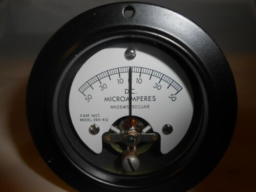 MR26W5T5DCUAR  DC MICROAMPERES  50-0-50  A/&M INST 265-412  NEW OLD STOCK
