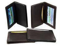Leather Credit Card & Id Holder Slim Design Black Men's Wallet