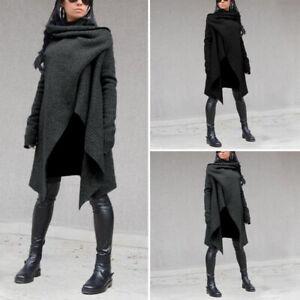 Vintage-Femme-Couleur-Unie-Casuel-en-vrac-Manche-Longue-Loose-Manteau-Haut-Plus