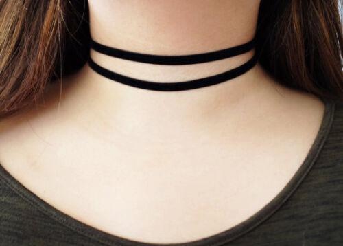 Double Strand Black Velvet Thick Wide Choker Wrap