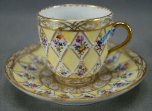 Helena Wolfsohn Dresden Hand Painted Flowers Gold Diamonds Yellow Demitasse Cup