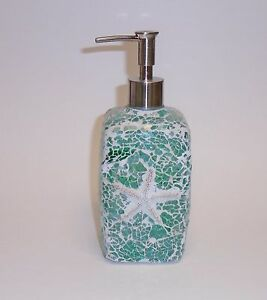 New glass mosaic teal green star fish bathroom kitchen for Fish soap dispenser