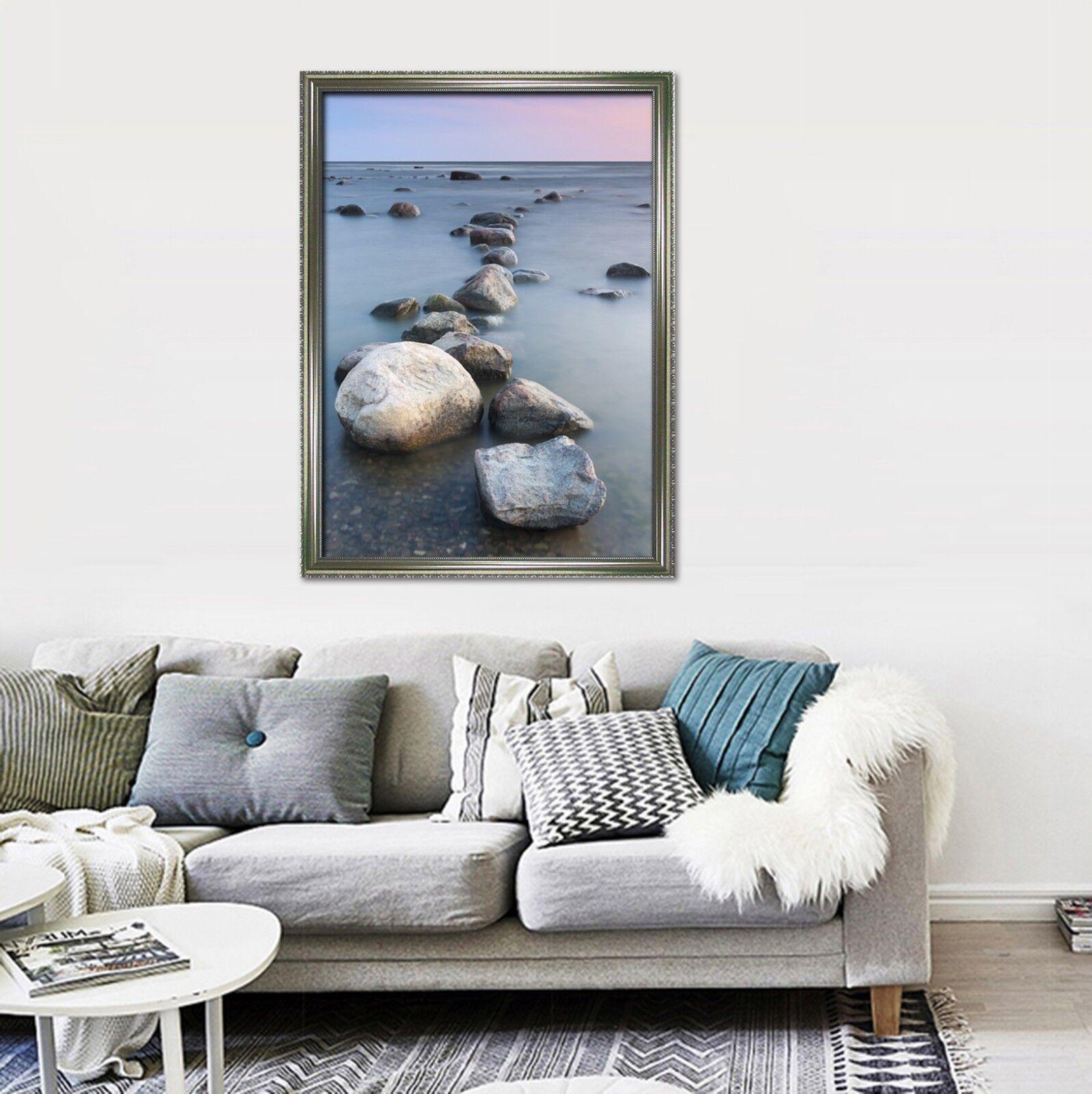 3D piedras de mar 3 Póster Enmarcado Niebla Decoración del Hogar Pintura de Impresión Arte AJ Wallpaper
