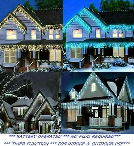 Icicle Light Outdoor Christmas Battery Operat Xmas LED Snow Effect Outside Roof