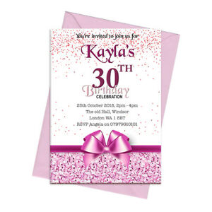 Image Is Loading PERSONALISED LADIES 30TH BIRTHDAY PARTY INVITATIONS INVITES ANY
