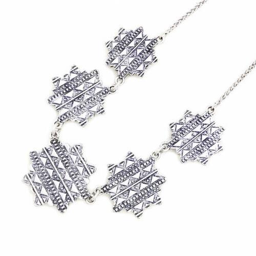Lucky Brand Two Tone Multi Tribal Lotus Flower Pendant Collar Choker Necklace