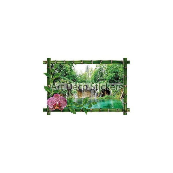 sticker mural trompe loeil dco bambou cascades rf 965