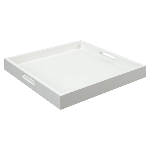 White Serving Tray W Handle Food Container Tea Coffee Breakfast Square Wood New
