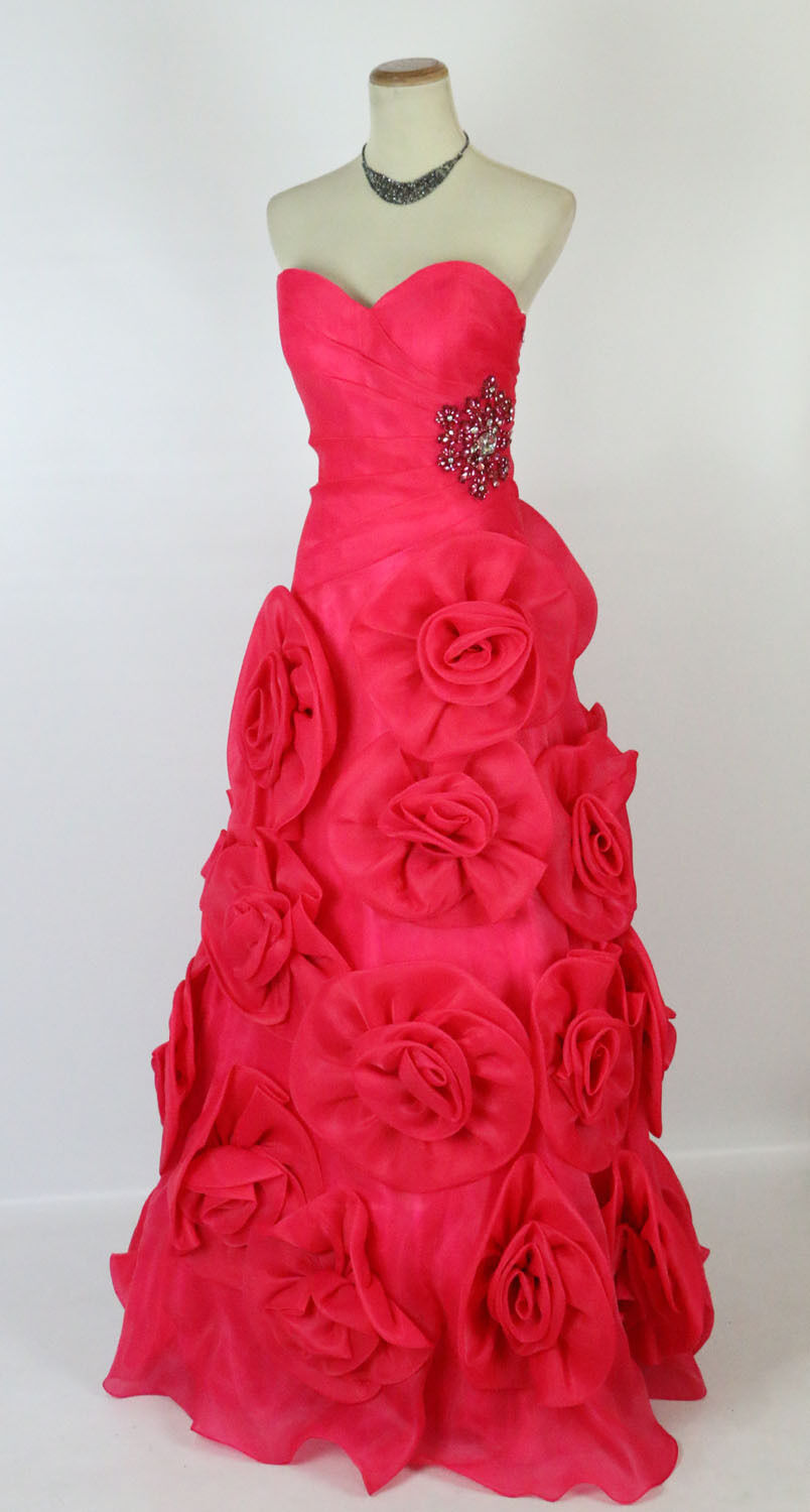 Ny TERANI P717 Genuine Fuchsia Beaded Floral Ruched Pageant Brudgummän Gown 8