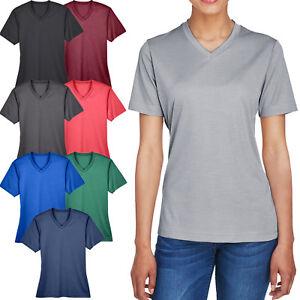 Ladies-Plus-Size-Moisture-Wicking-T-Shirt-Heather-V-Neck-Womens-Tee-XL-2XL-3XL