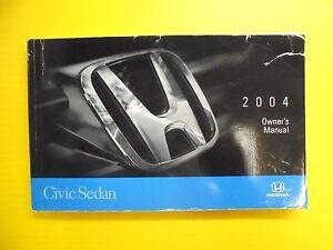 Civic-Sedan-04-2004-Honda-Owners-Owner-039-s-Manual-OEM