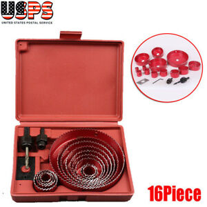 16pcHole-Saw-Drill-Bit-Hole-saw-Wood-Sheet-Metal-Woodworking-Tool-Kit-US