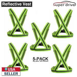 5 PCS High Visibility Adjustable Running Security Reflective Safety Vest Belt