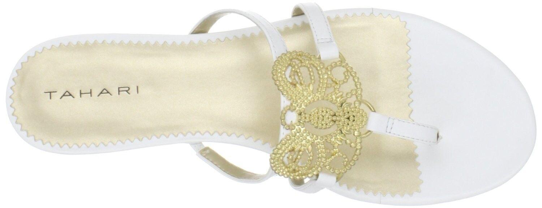 Tahari Ramona White w gold Metal Butterfly Thong, 7.5 - MSRP  98