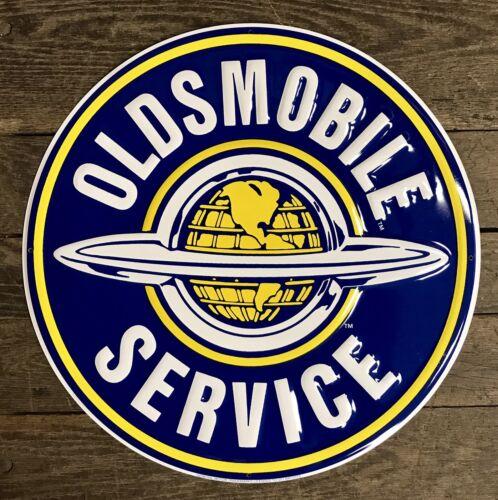 "OLDSMOBILE Service 24/"" Circular Embossed Classic Tin Metal Sign"