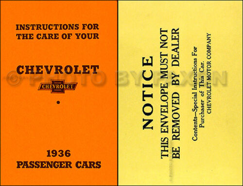 research.unir.net 1936 Chevrolet Car Owners Manual with Envelope ...