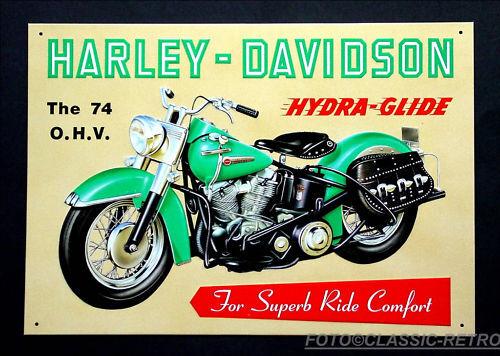 * HARLEY-DAVIDSON Oldtimer vélo moto poster image HYDRA GLIDE bouclier 105