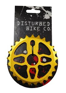 Disturbed-BMX-Chainring-Sprocket-25th-Gold-Alloy-1-2-x-1-8-BMX-Bicycle