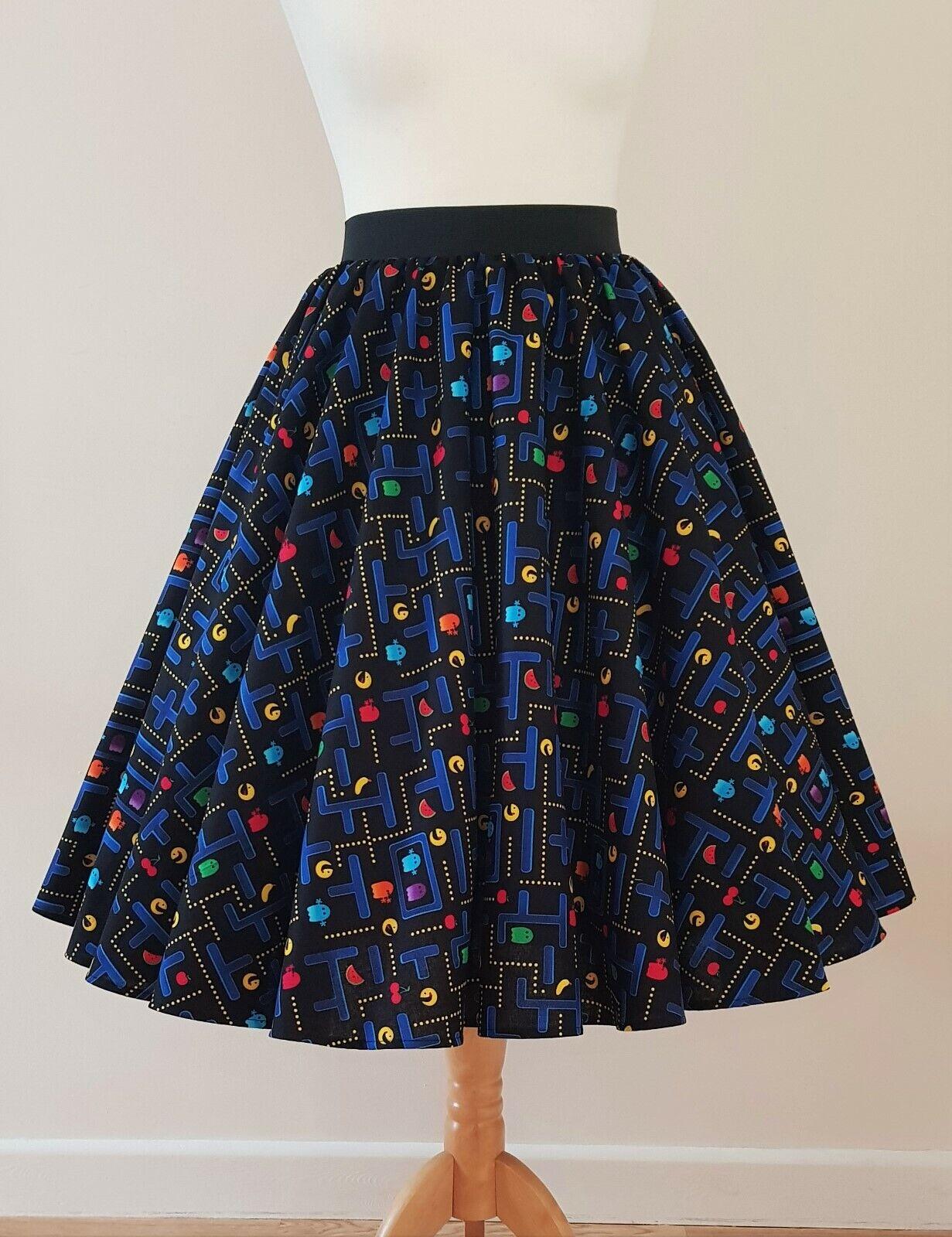 1950s Circle Skirt Pac Man All Größes - Retro Game Quirky Fruit Rockabilly Dress